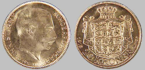 European Pre 1933 Gold Danish Christian X 20 Kroner