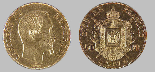 World Gold French Napoleon 50 Franc Coin