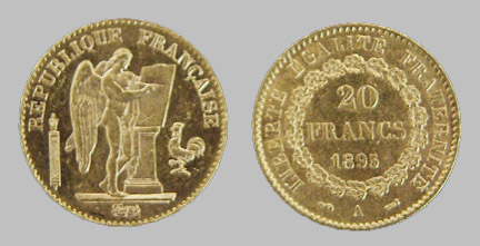 World Gold French Angel 20 Franc Coins