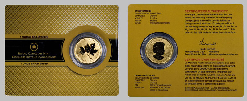 99999 Gold Coins 2008 Maple Leaf 200 Gold From Canada