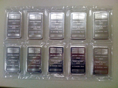 Ntr 10 Oz Pure 999 Bu Silver Bars