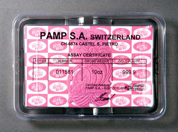 Gold Bars Pamp Suisse 10 Oz
