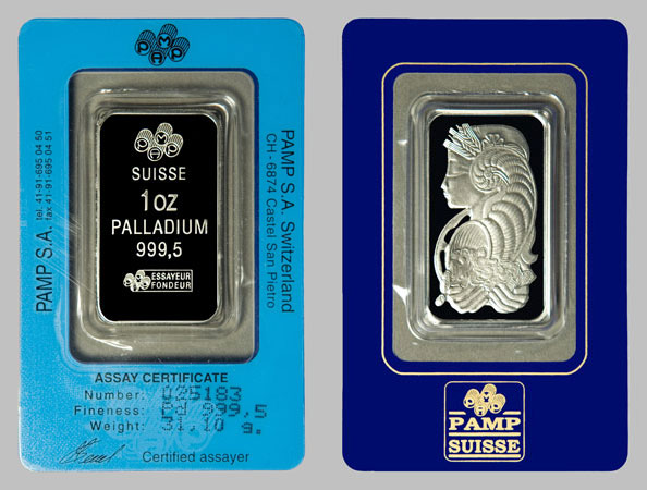 Palladium Bars Pamp Suisse 9995 Palladium Bullion Bar